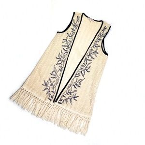 Blu Pepper Ivory Vest with Tassels and Blue size S